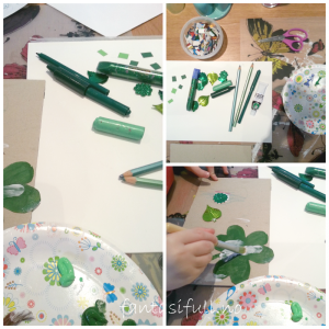 fantasifull st_patricks-day-barnehage-forming- formingsaktivitet barneaktivitet markering barn barna med maling grønt male lime  lage kort klippe